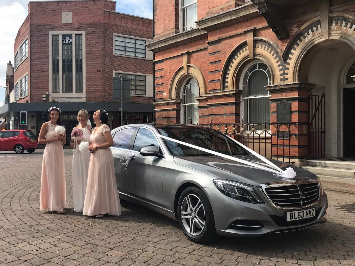 Mercedes S Class and Bridesmaids in Ilkeston, Derbyshire