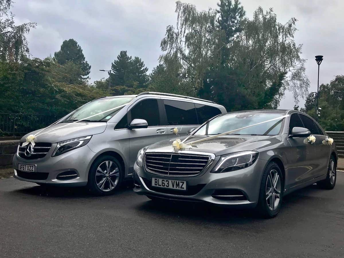 Mercedes S Class and Mercedes V Class wedding cars at a wedding in Derby