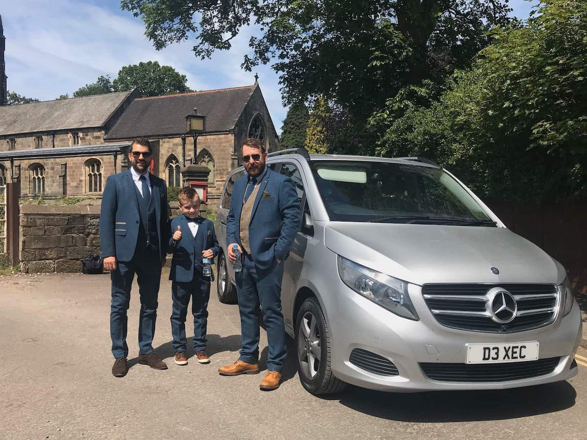 Mercedes V Class at the wedding church with the grooms party