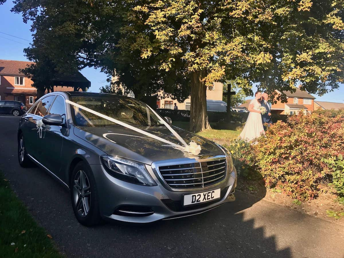 Mercedes S Class wedding Car with Bride
