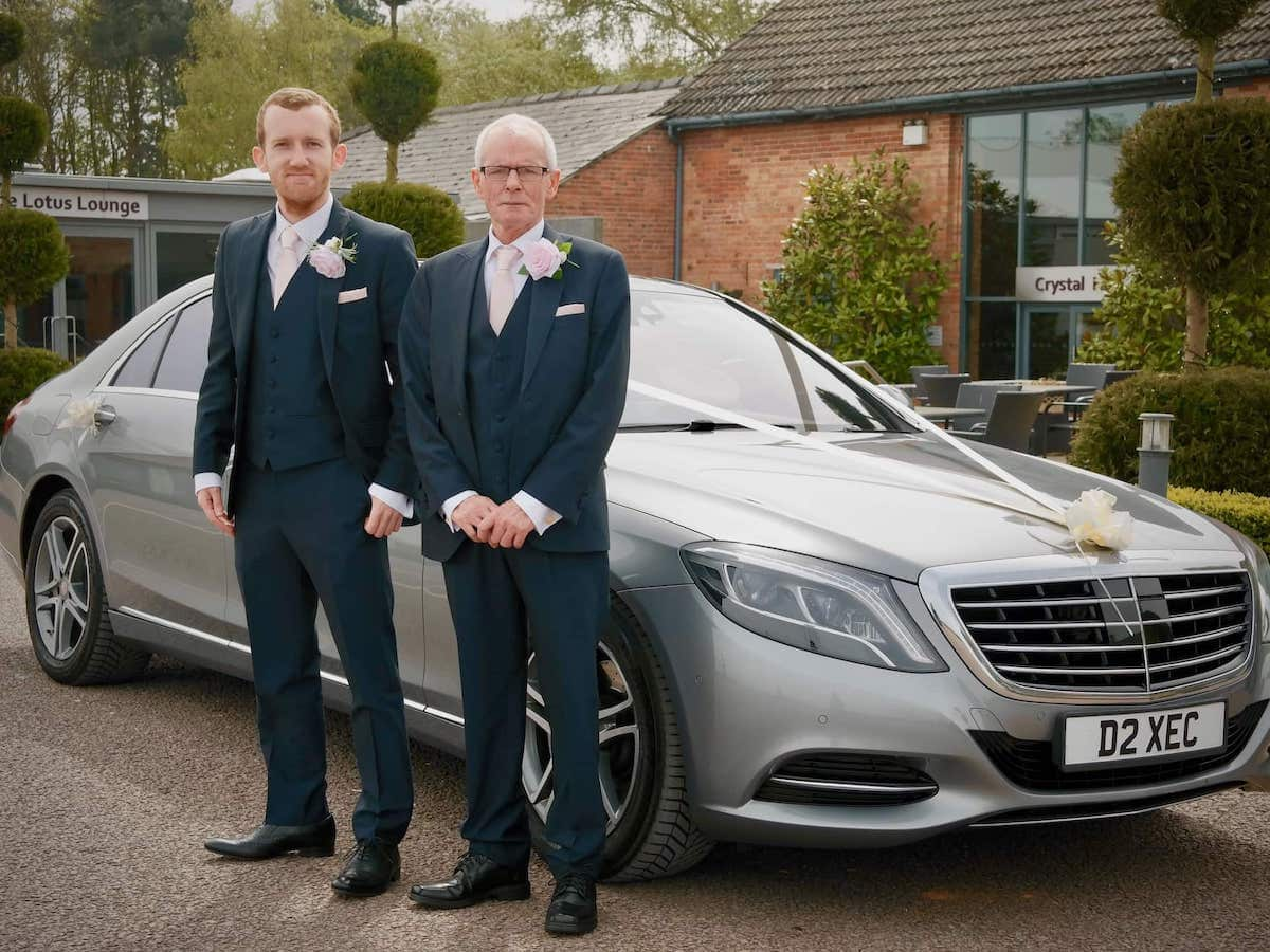 Mercedes S Class with groomsmen at a wedding in Nottingham