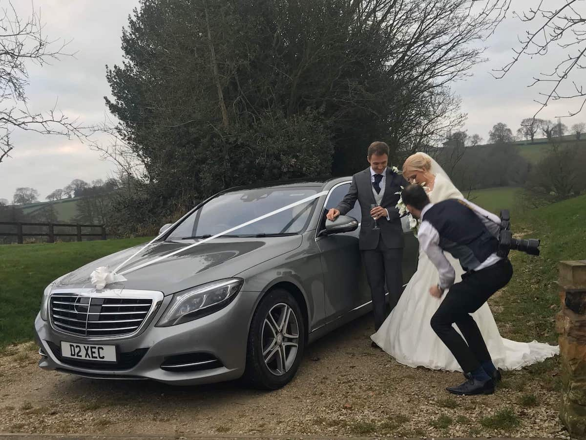 Mercedes S Class wedding car with bride and groom in Derbyshire