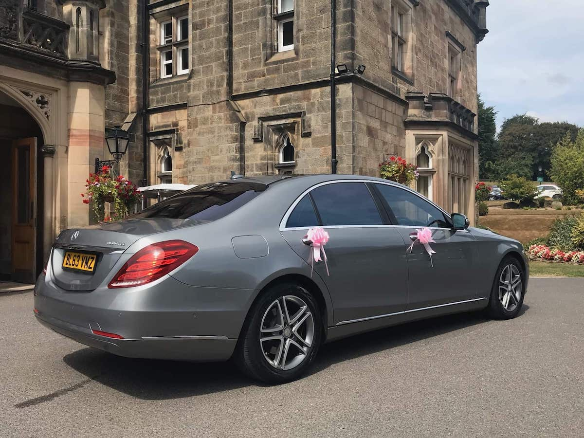 Mercedes S Class wedding car at Breadsall Priory in Derby