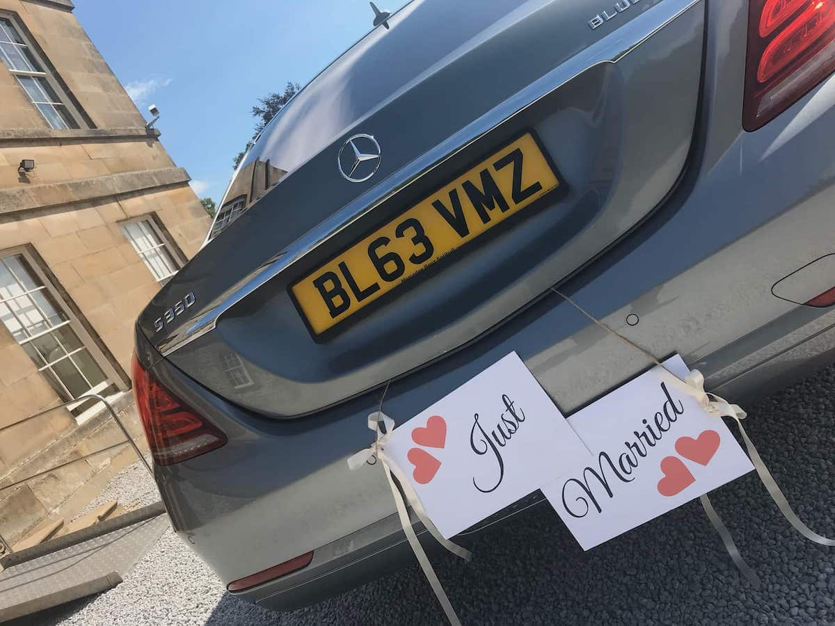 Just Married sign hung on our Mercedes S Class Wedding Car