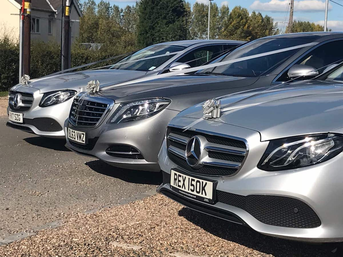 Mercedes E Class and S Class Wedding Cars with ribbons and bows in Melbourne, Derbyshire