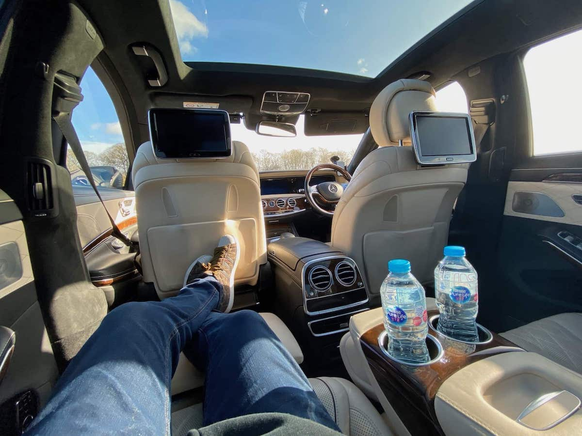 Relax in the back of our Mercedes S Class on your Little Eaton Airport Transfer