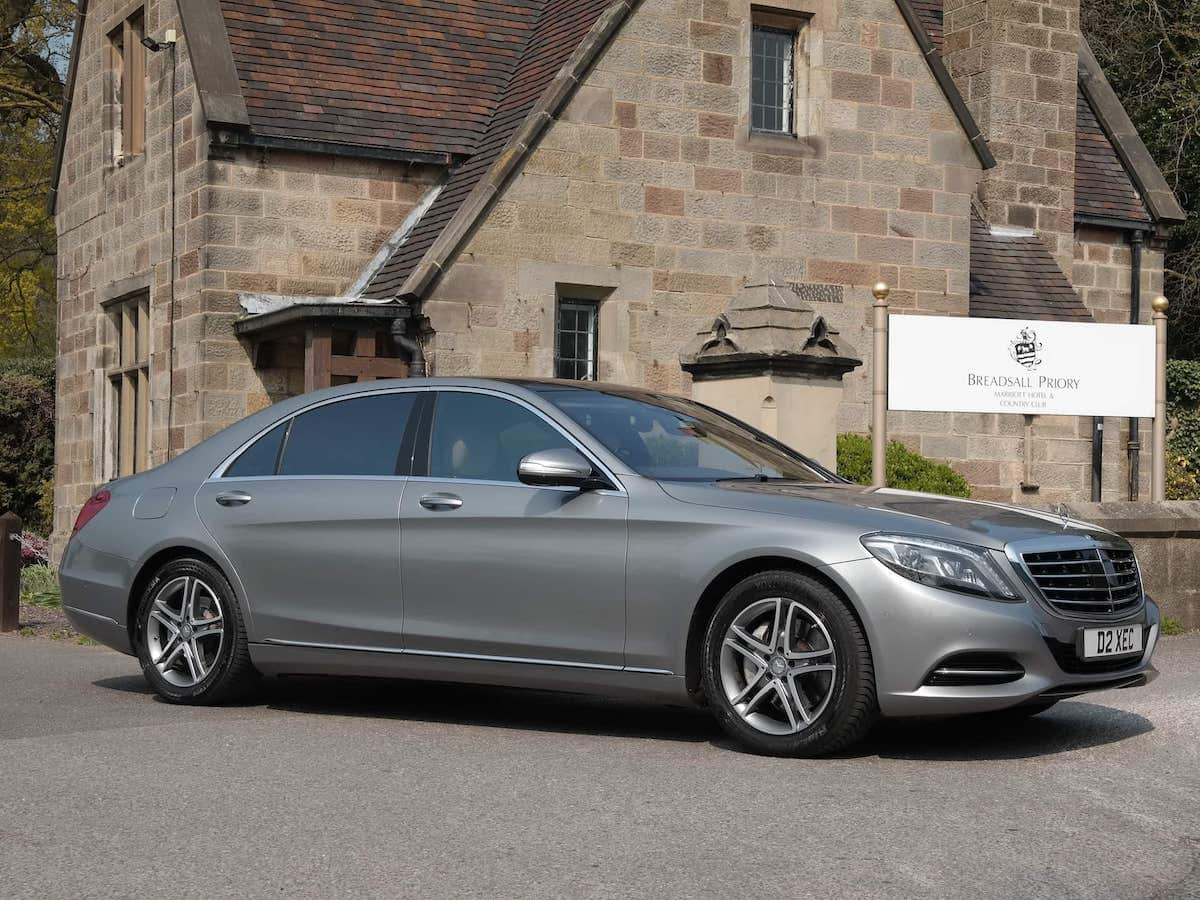 A52 Executive Cars Luxury Mercedes S Class chauffeur car at Breadsall Priory hotel in Derby