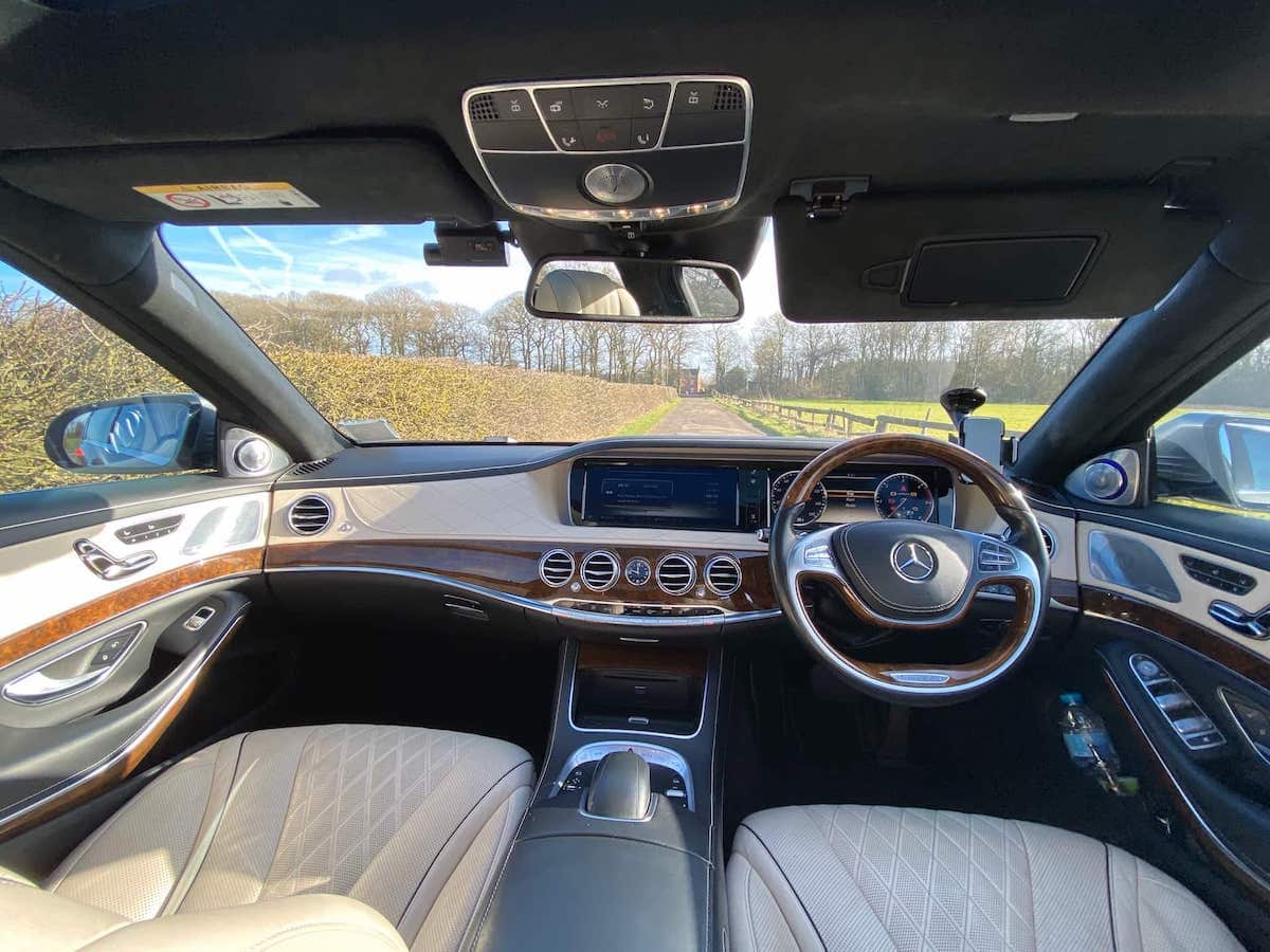 Mercedes S Class Chauffeur car Luxury Cabin