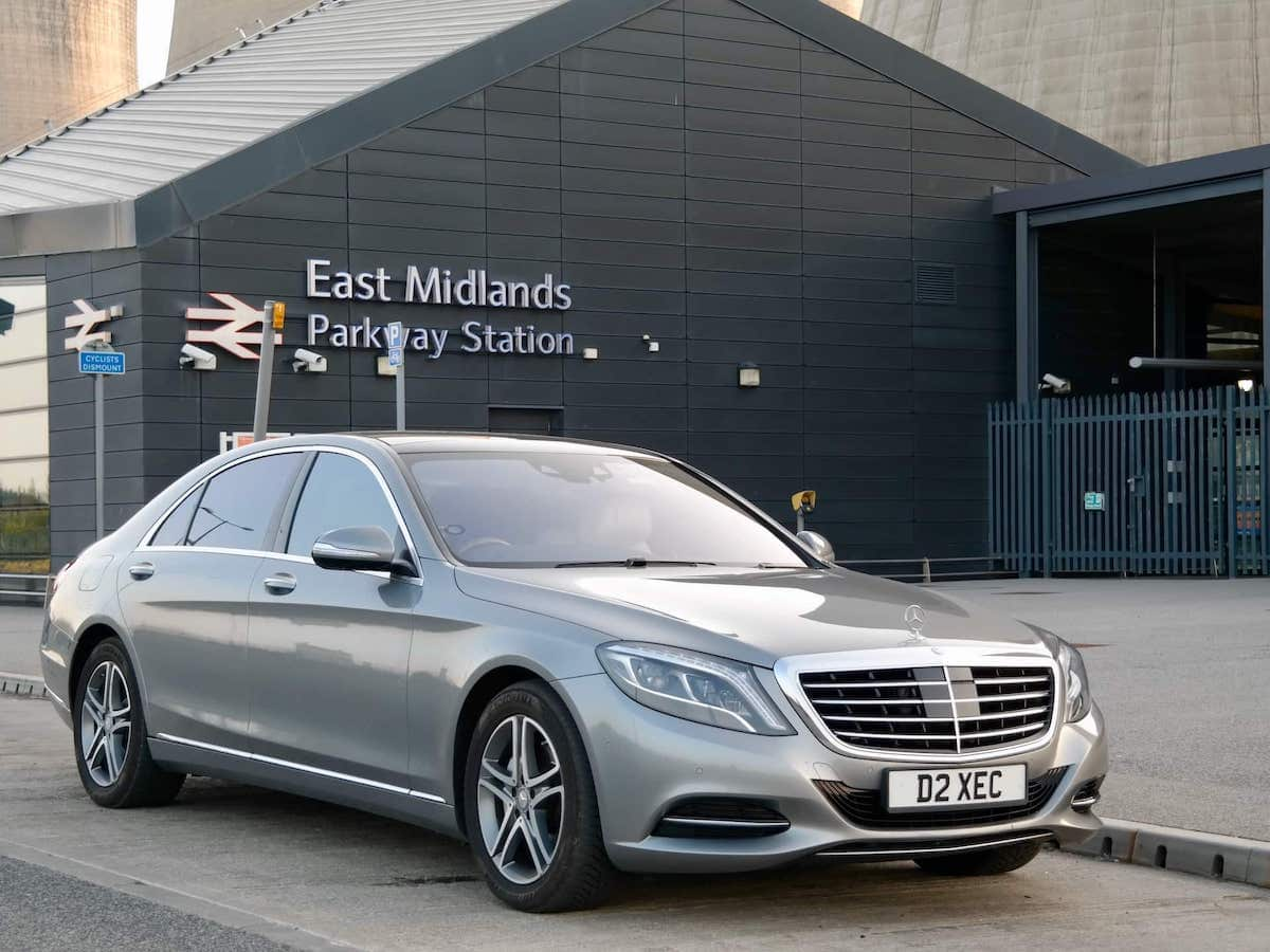 Picking up at East Midlands Parkway railway station in our Mercedes S Class Chauffeur Car