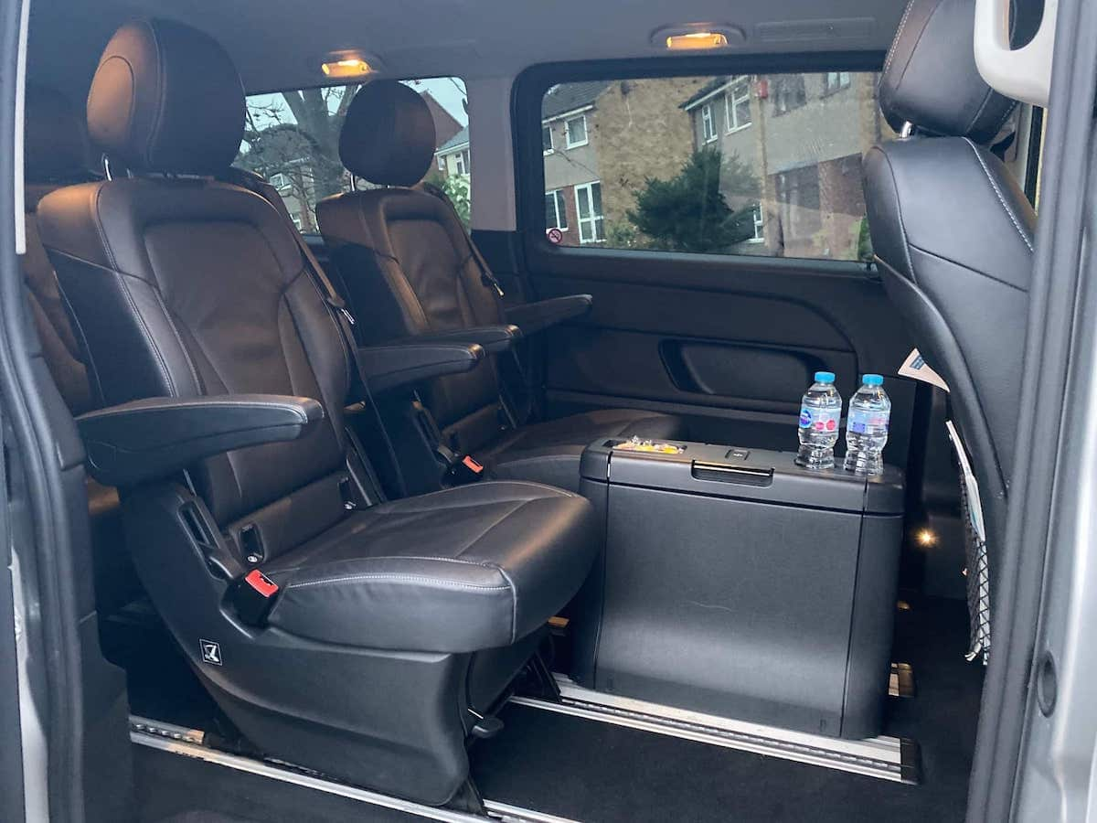 Plenty of space to stretch out on your holiday transfer from Derby in our Mercedes V Class Minibus