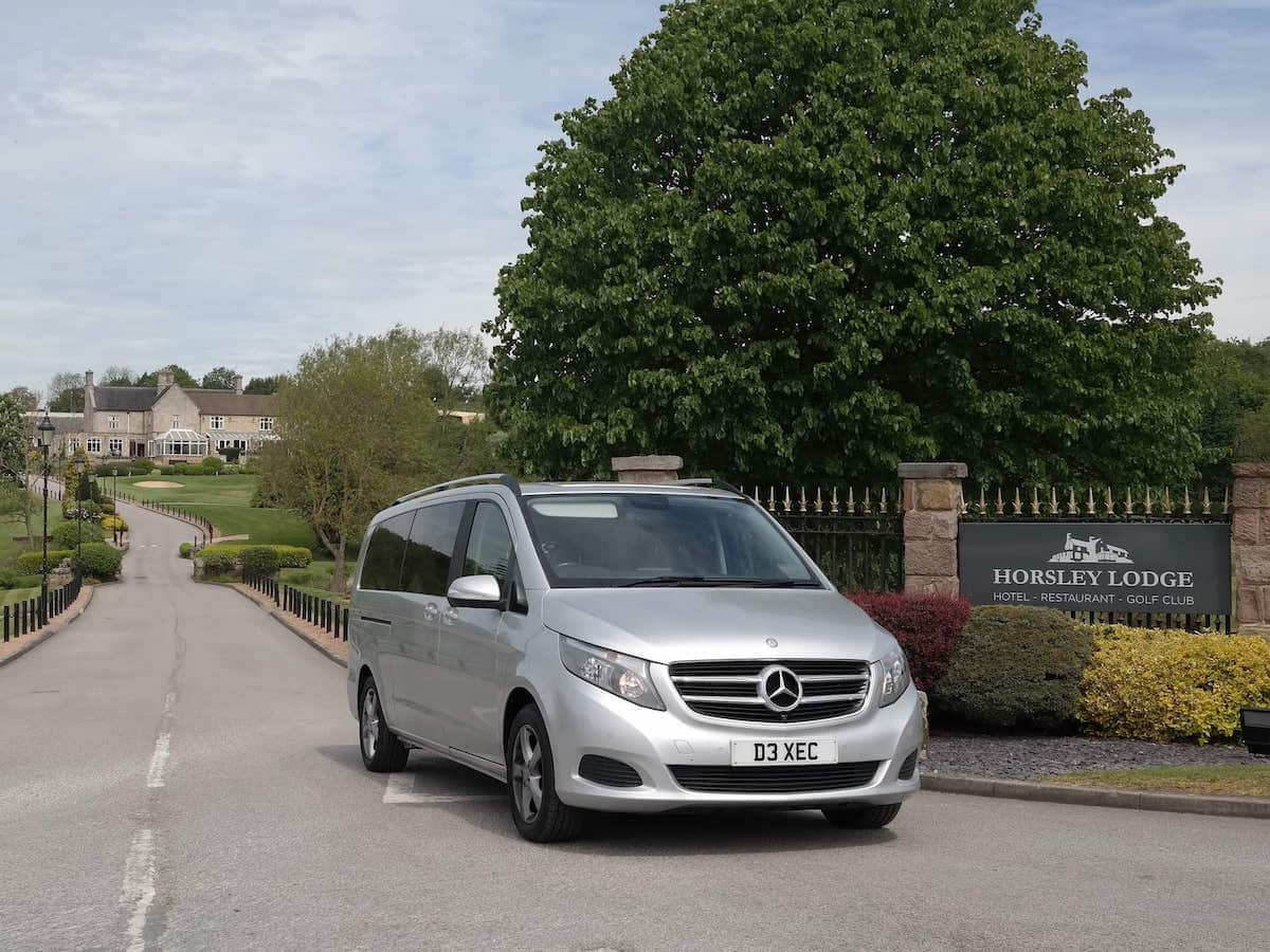 Our Mercedes V Class Chauffeur MPV picking up at the Horsely Lodge Restaurant in Derbyshire