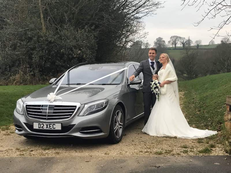 A52 Executive Cars Mercedes S Class wedding car with bride and groom in Derbyshire