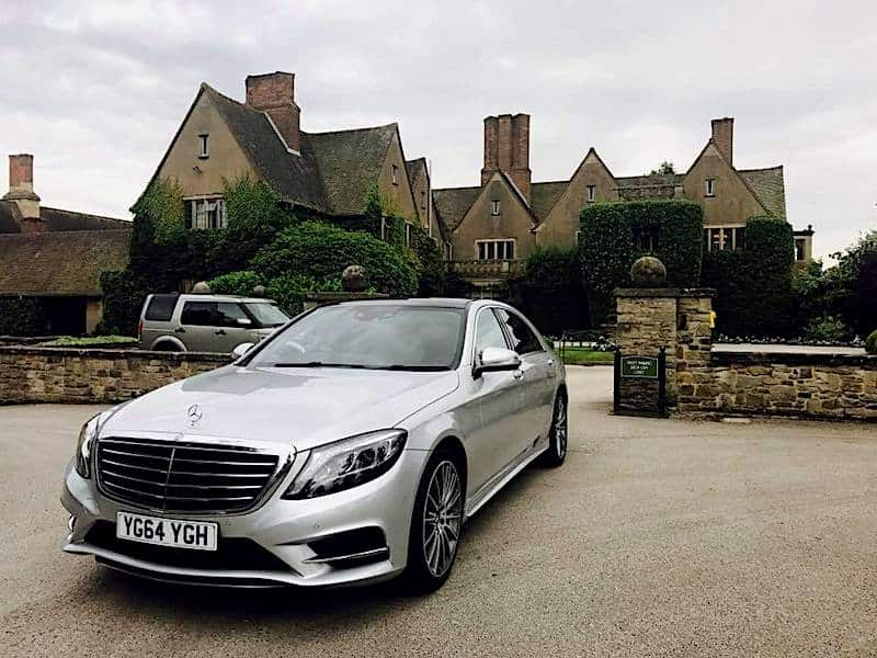 Our Mercedes S Class waiting for clients at a restaurant in Derbyshire