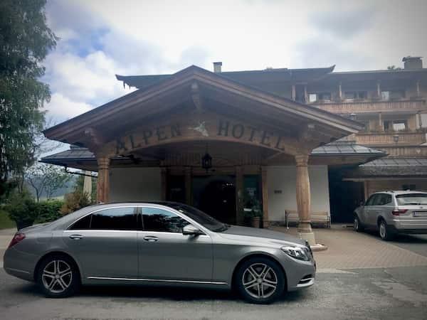 Mercedes S Class outside an Austrian hotel European Chauffeur travel