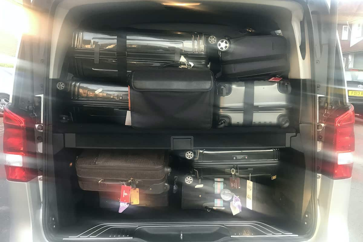 Luggage space of the Mercedes V Class idea for an airport taxi service in Derby