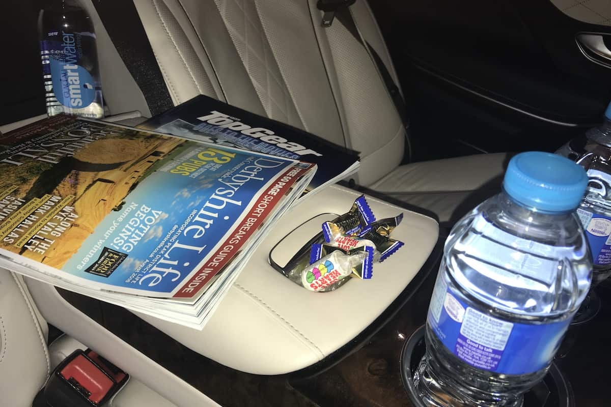 Sweets and Magazines in our Mercedes S Class are part of the Derby Airport Taxi service when you book us