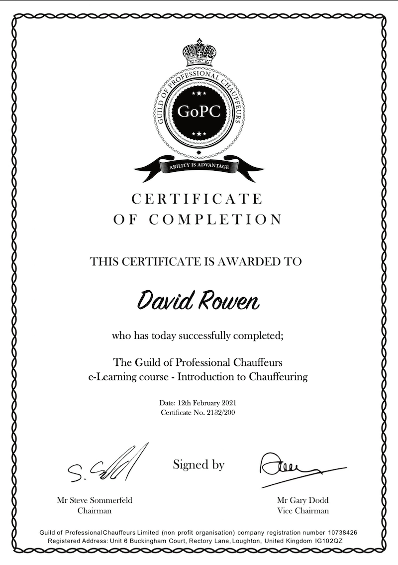 Guild of professional Chauffeurs certificate
