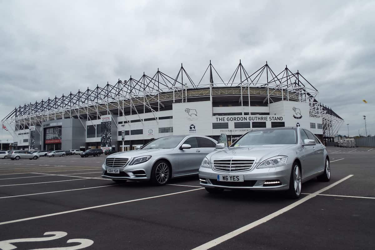 Picking up at Derby County football club for a player transfer